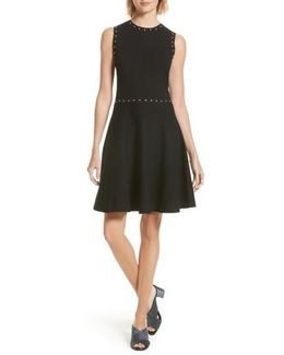 Studded Fit & Flare Dress