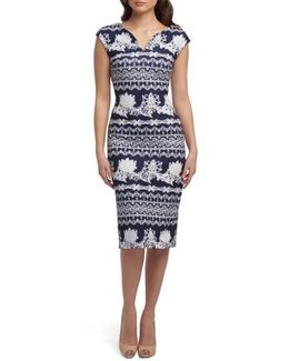 Print Scuba Sheath Dress