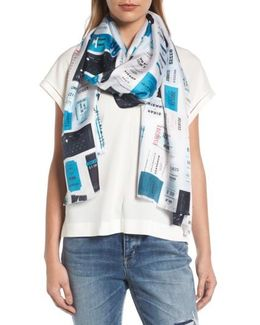 Train Tickets Oblong Silk Scarf