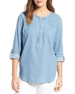 Tessa Denim Roll Sleeve Top