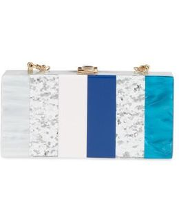 Stripe Box Clutch - Metallic