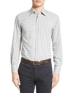 Regular Fit Windowpane Plaid Sport Shirt