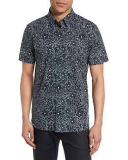 Calous Slim Fit Flower Print Sport Shirt