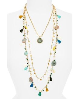 Coin & Tassle Multistrand Necklace