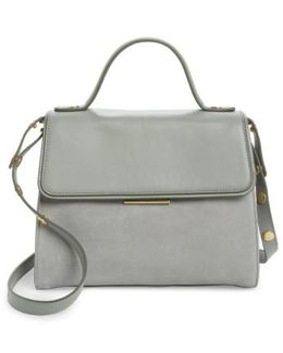 Top Handle Suede & Leather Satchel