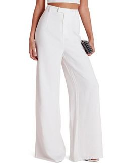 High Waist Wide Leg Crepe Trousers