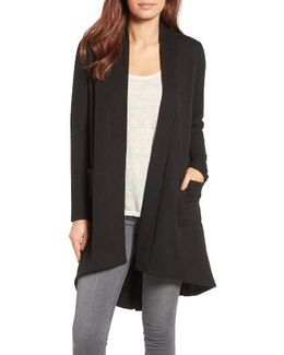 High/low Fleece Knit Cardigan