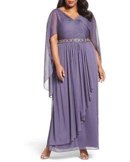 Capelet Drape Long A-line Dress