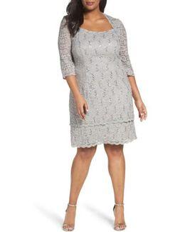 Scallop Edge Sequin Lace Shift Dress