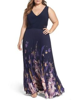 Floral Border A-line Chiffon Gown