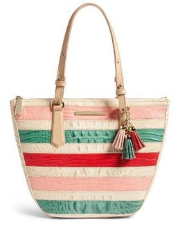 Small Willa Croc Embossed Leather Tote
