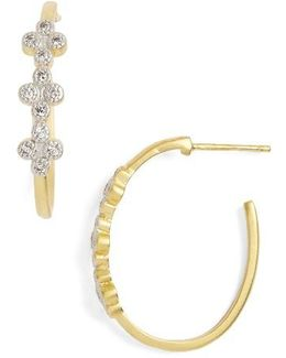 Visionary Fusion Pave Clover Hoop Earrings
