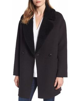 Dawn Genuine Shearling Collar Double Face Coat