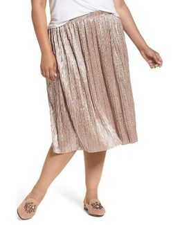 Crushed Foil Pleated Skirt