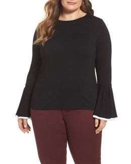 Tipped Bell Sleeve Top