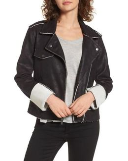Faux Suede & French Terry Bonded Moto Jacket