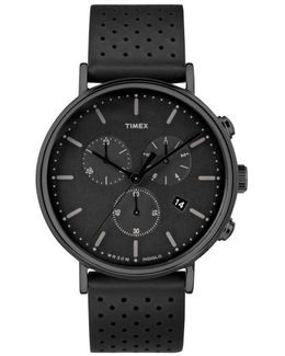 Timex Fairfield Chronograph Leather Strap Watch