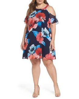 Cold Shoulder Floral A-line Dress