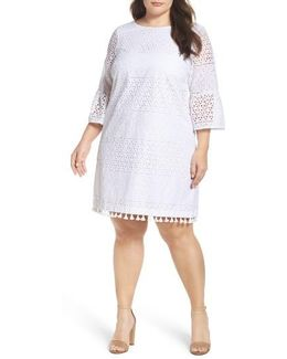 Eyelet Bell Sleeve Shift Dress