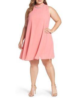 Embellished Chiffon Trapeze Dress