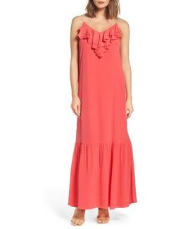 Ruffle Silk Maxi Dress