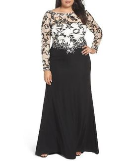 Two-tone Lace & Crepe Gown