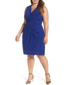 Side Ruffle Faux Wrap Jersey Dress