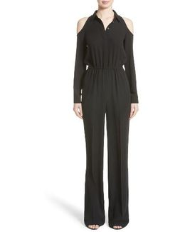 Silk Georgette Cold Shoulder Jumpsuit