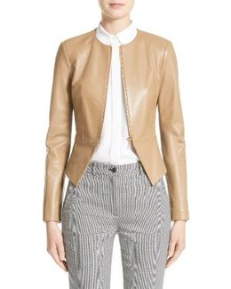 Lambskin Leather Peplum Jacket