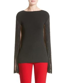 Fringed Stretch Matte Jersey Tee