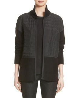 Quilted Zip Front Cardigan