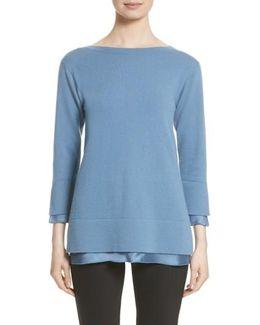 Charmeuse Trim Cashmere Sweater
