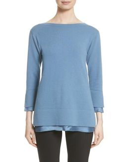 Charmeuse Trim Cashmere Sweater