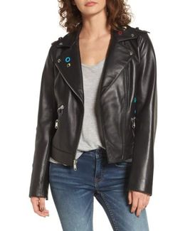 Grommet Detail Leather Jacket