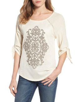Embroidered Mesh Front Top