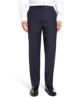Flat Front Plaid Wool Trousers