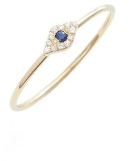 Evil Eye Diamond & Sapphire Stack Ring