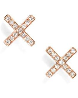 X Diamond Stud Earrings