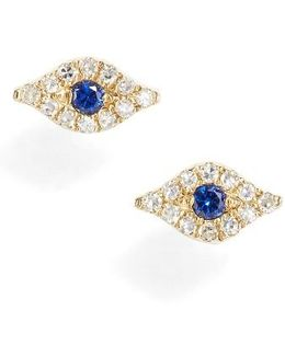 Evil Eye Diamond & Sapphire Stud Earrings