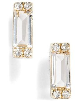 Diamond & Topaz Baguette Stud Earrings