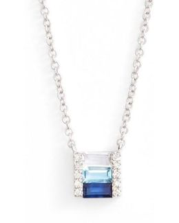 Fade Brick Diamond & Stone Pendant Necklace