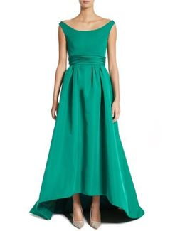Off The Shoulder Silk Faille Gown