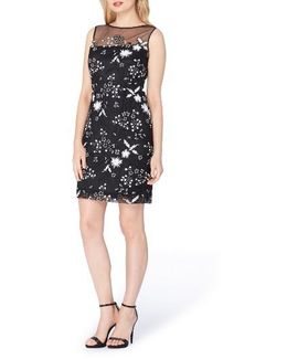 Illusion Sequin Embroidered Sheath Dress