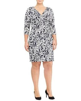Paisley Faux Wrap Sheath Dress