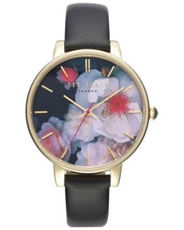 Kate Print Dial Leather Strap Watch