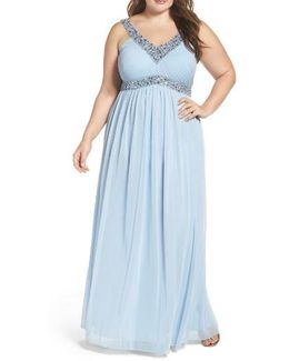 Embellished V-neck Chiffon Gown