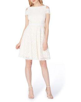 Lace Cold Shoulder A-line Dress