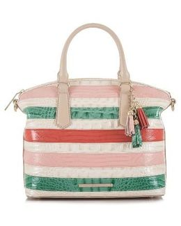 Stripe Duxbury Leather Satchel