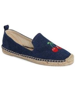 Embroidered Cherries Espadrille Flat
