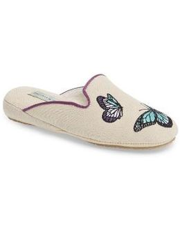 Embroidered Butterfly Mule